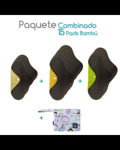 Paquete Bambú combinado 15 pads